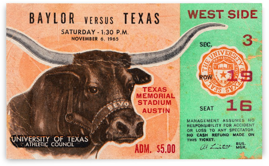 1965 Texas vs. Baylor Football Ticket Canvas by Row One Brand