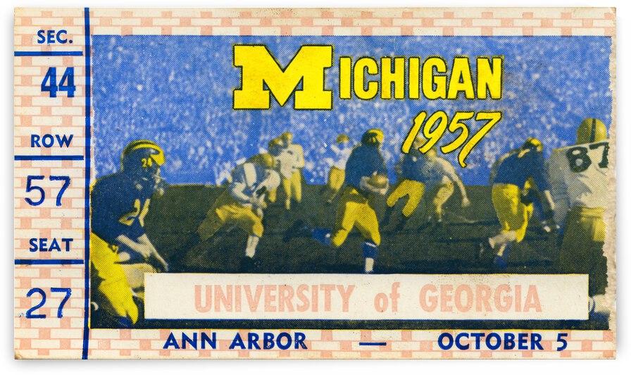 1957 Georgia vs. Michigan Football Ticket Canvas by Row One Brand