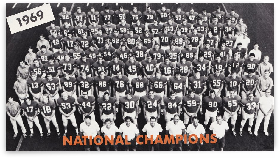 1969 Texas Longhorns National Champions Team Photo by Row One Brand