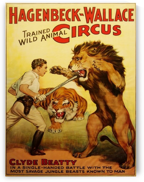 Vintage Circus Poster, Lion Tamer Poster by VINTAGE POSTER