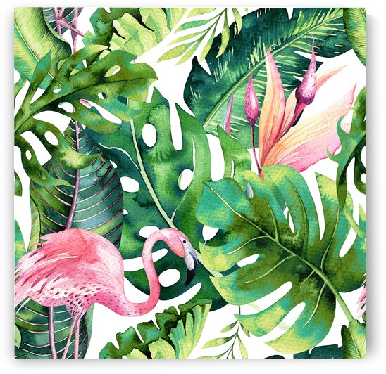 Flamingo Tropical Colorful Tropical Jungle Monstera Painting Watercolor Birds Banana Leaves  by 83 Oranges
