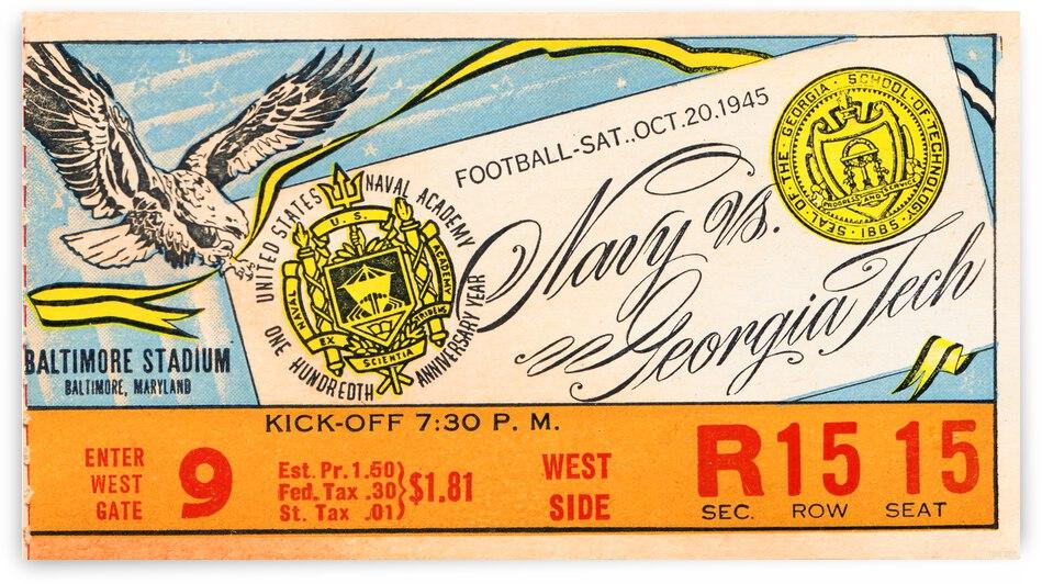 1945 Navy vs. Georgia Tech Football Ticket Canvas by Row One Brand