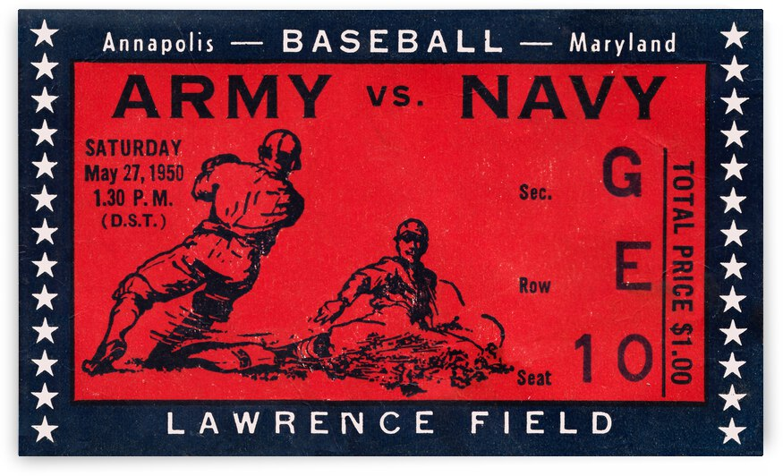 1950 Army Navy Baseball Ticket Canvas by Row One Brand
