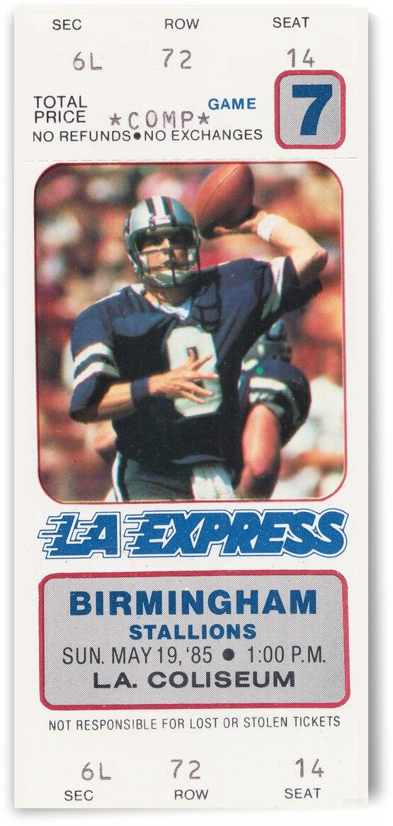 1985 LA Express USFL Ticket Canvas by Row One Brand