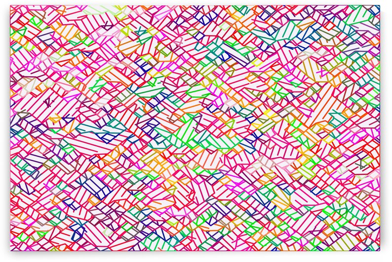 geometric pixel line pattern abstract in pink yellow blue green by TimmyLA