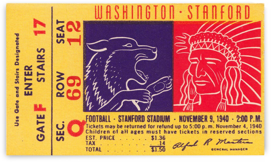 1940 Stanford vs. Washington Football Ticket Canvas by Row One Brand