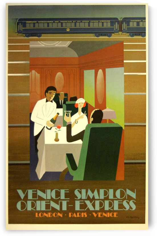 Travel Art Deco Style Poster - Venice Simplon Orient Express Railway by VINTAGE POSTER