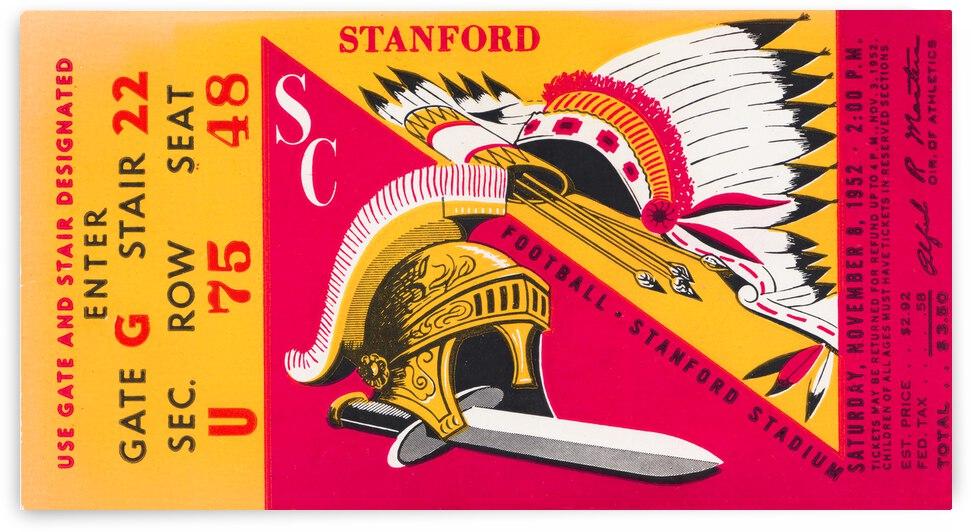 1952 Stanford vs. USC Football Ticket Canvas by Row One Brand