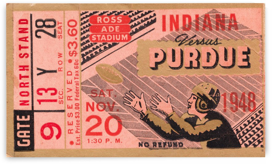 1948 Purdue Boilermakers vs. Indiana Hoosiers Football Ticket Poster by Row One Brand