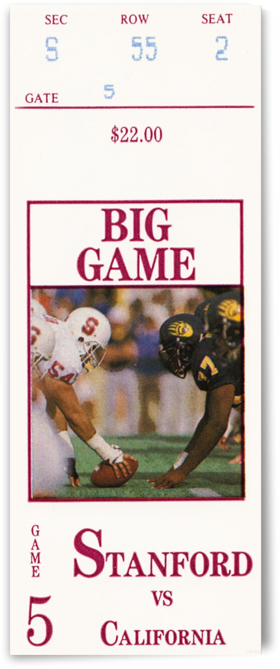 1987 Cal Bears vs. Stanford Cardinal Football Ticket Canvas by Row One Brand