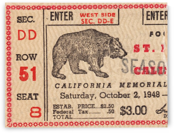 1948 Cal Bears Football Ticket Stub Canvas by Row One Brand