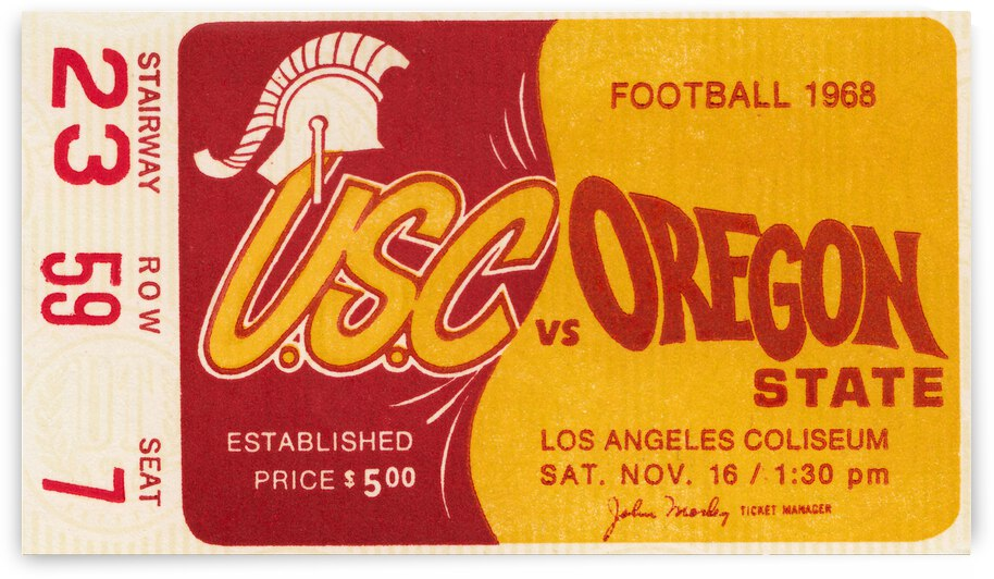 1968 USC Trojans vs. Oregon State Football Ticket Canvas by Row One Brand