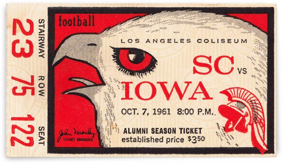1961 USC vs. Iowa Football Ticket Canvas by Row One Brand