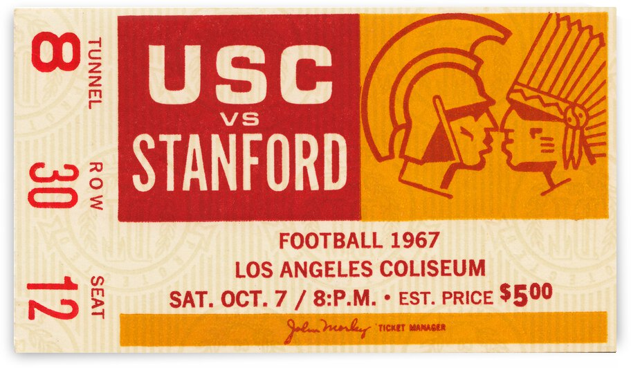 1967 USC vs. Stanford Football Ticket Canvas by Row One Brand
