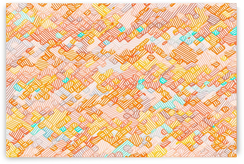 geometric square pixel line pattern abstract in brown orange blue by TimmyLA