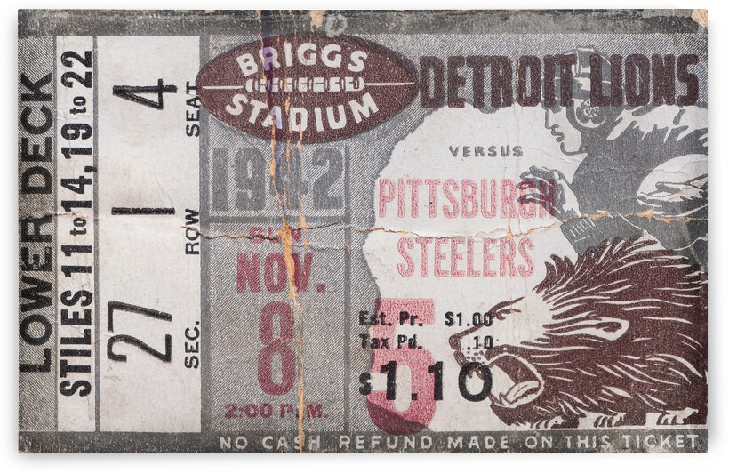 1942 Detroit Lions vs. Pittsburgh Steelers Metal Ticket by Row One Brand