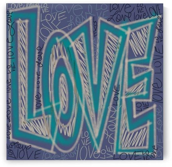 DIGITAL ILLUSTRATION - Light Blue Big Love by Lisa Shavelson