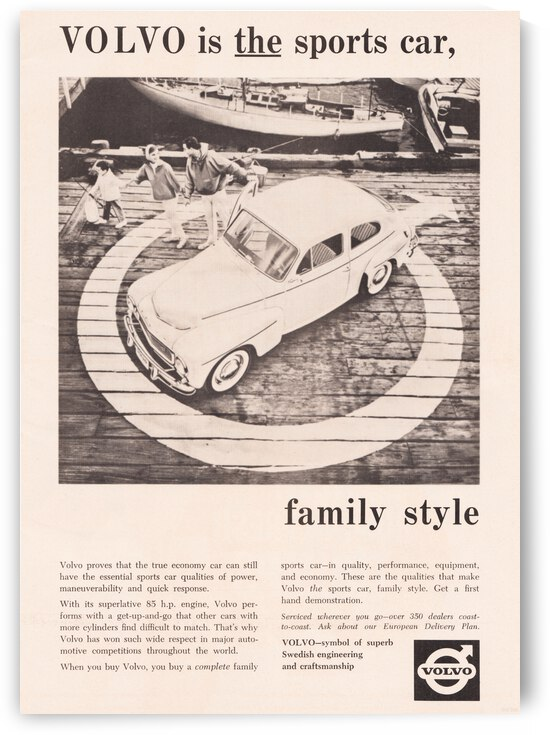 1960 Volvo Car Vintage Advertisement Poster by Row One Brand