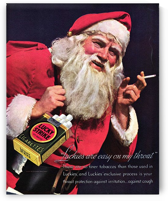 Lucky Strike Santa, 1937 Vintage Cigarette Advertising Poster by VINTAGE POSTER