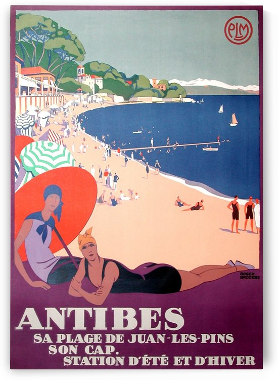 Roger Broders Antibes Original Poster by VINTAGE POSTER
