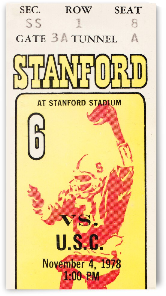 1978 USC vs. Stanford Football Ticket Canvas by Row One Brand