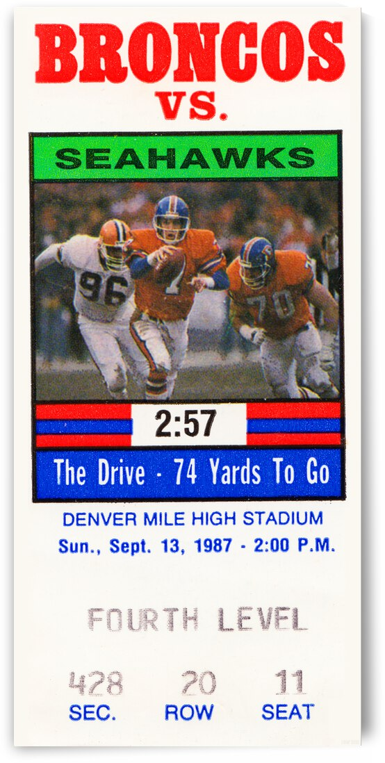 1987 Denver Broncos vs. Seattle Seahawks Football Ticket Canvas by Row One Brand