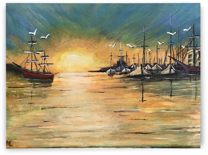sun set harbor by Michelangelo cotroneio