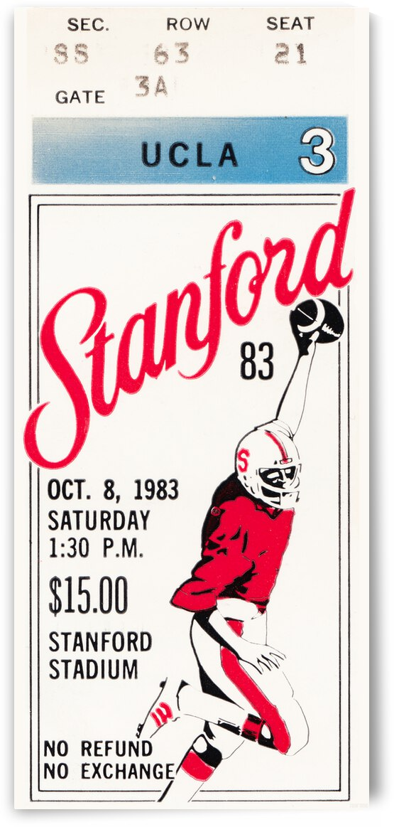 1983 UCLA vs. Stanford Cardinal Football Ticket Poster by Row One Brand