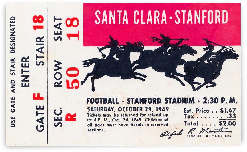 1949 Stanford vs. Santa Clara Football Ticket Canvas by Row One Brand