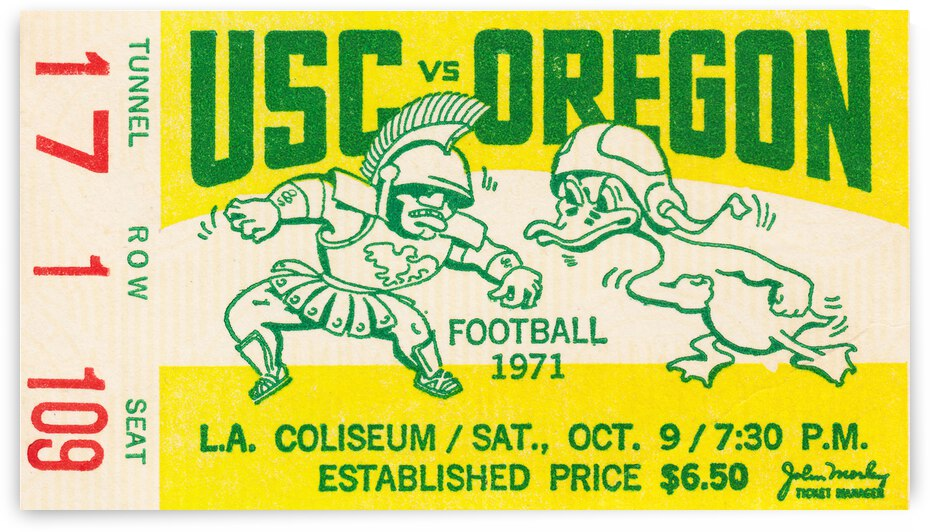 1971 USC Trojans vs. Oregon Ducks Football Ticket Canvas by Row One Brand