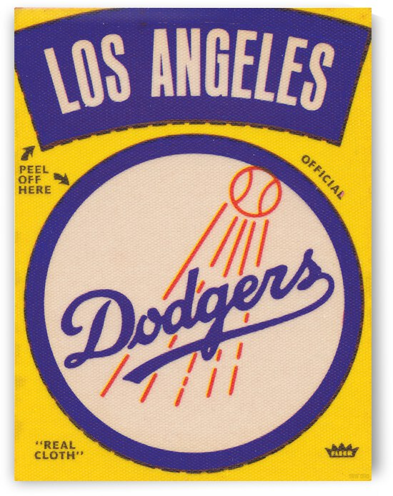 1969 Los Angeles Dodgers Fleer Cloth Decal Canvas Art by Row One Brand