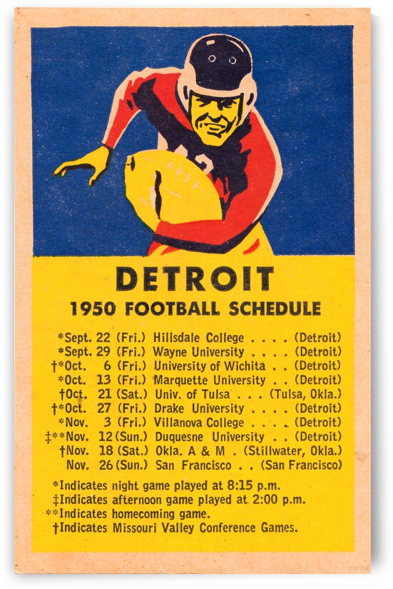 1950 University of Detroit Football Schedule Poster by Row One Brand