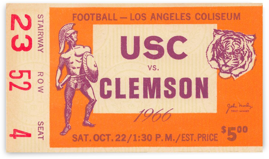 1966 USC vs. Clemson Football Ticket Canvas by Row One Brand