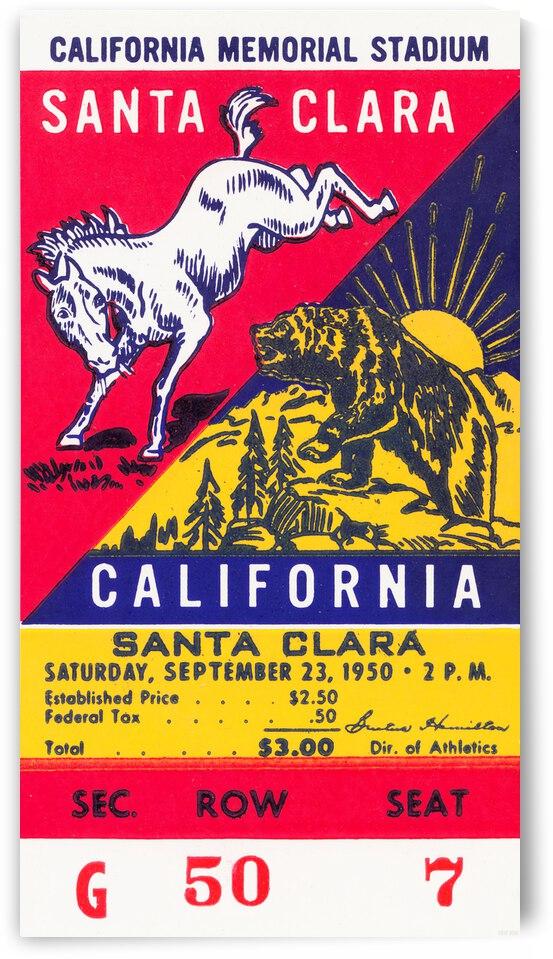 1950 California Bears vs. Santa Clara Broncos Football Ticket Canvas by Row One Brand