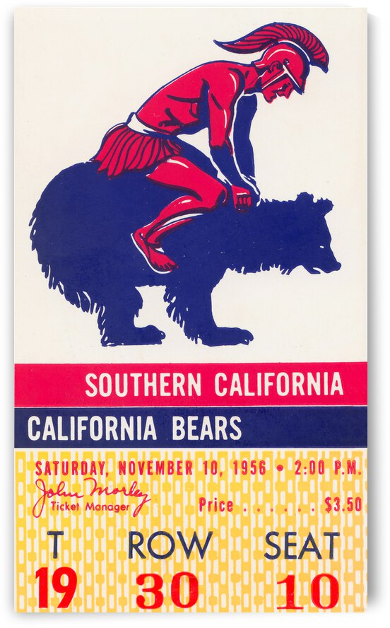 1956 Cal Bears vs. USC Trojans Football Ticket Poster by Row One Brand