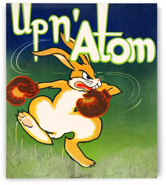 Vintage Up N Atom Boxing Bunny Cartoon Art by Row One Brand