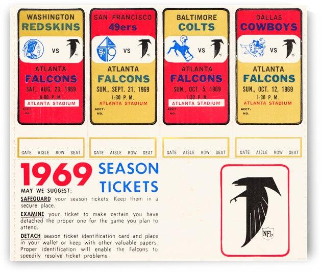 1969 Atlanta Falcons Season Tickets Canvas by Row One Brand