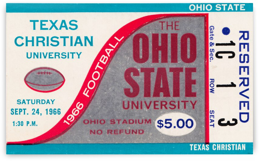 1966 Texas Christian vs. Ohio State Football Ticket Canvas by Row One Brand