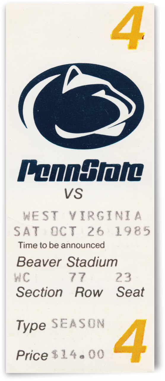1985 Penn State vs. West Virginia Football Ticket Canvas by Row One Brand