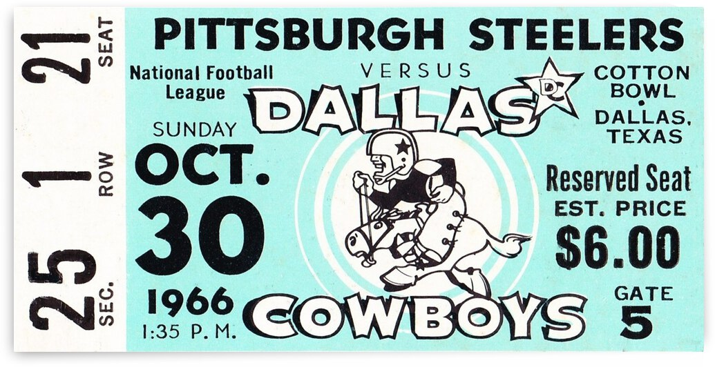 1966 Dallas Cowboys vs. Pittsburgh Steelers Football Ticket Canvas by Row One Brand