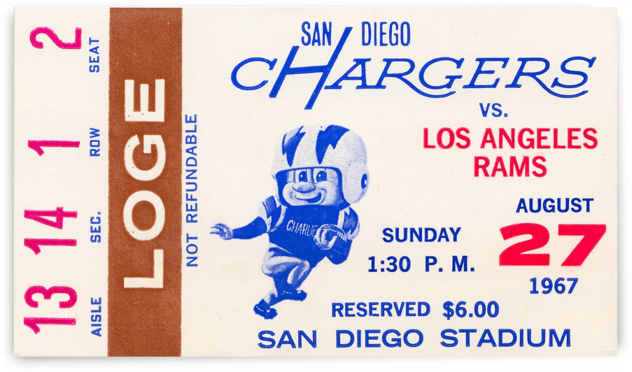 1967 San Diego Chargers Football Ticket Canvas by Row One Brand