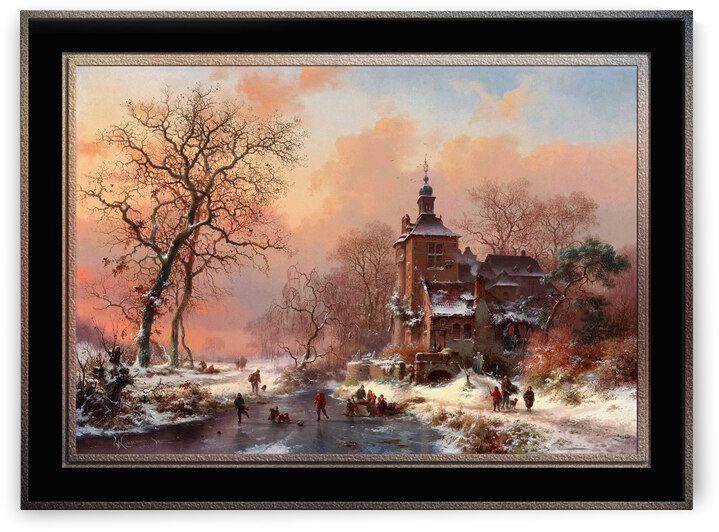 Winter Landscape with Skaters on a Frozen River by Frederik Marinus Kruseman Fine Art Old Masters Reproduction by xzendor7