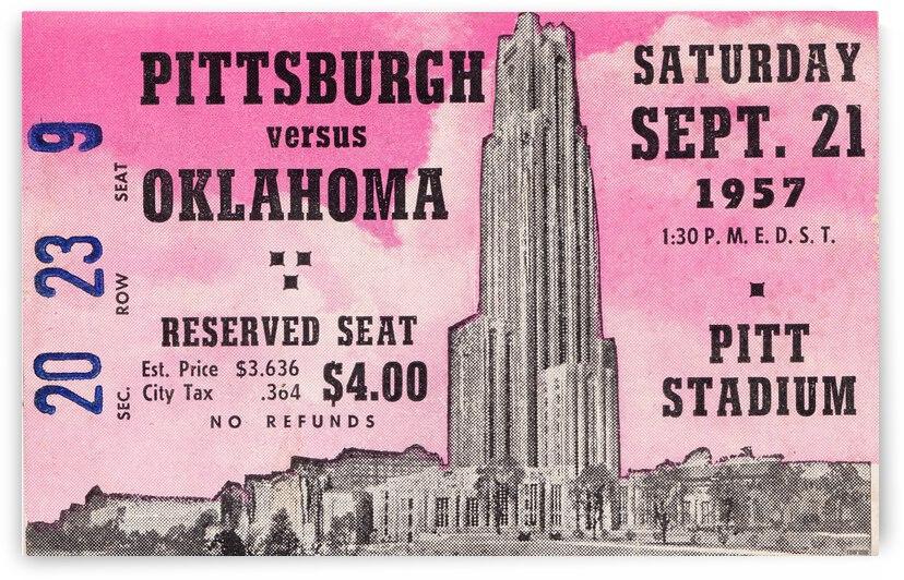 1957 Oklahoma vs. Pittsburgh Football Ticket Stub Canvas by Row One Brand