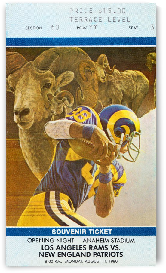 1980 LA Rams vs. New England Patriots Ticket Canvas by Row One Brand