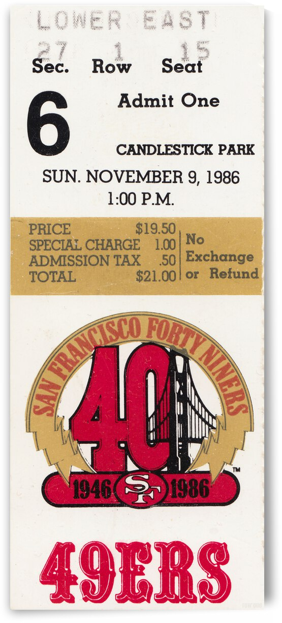 1986 San Francisco 49ers vs. Cardinals Football Ticket Canvas by Row One Brand