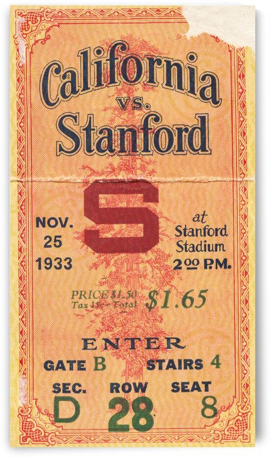 1933 California Bears vs. Stanford University Football Ticket Stub Canvas by Row One Brand