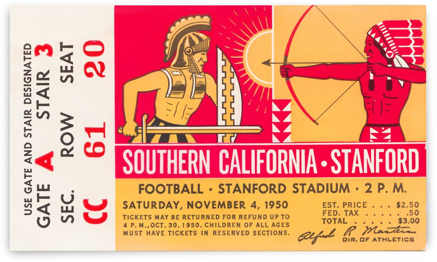 1950 USC Trojans vs. Stanford Indians Football Ticket Canvas by Row One Brand