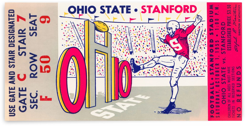 1955 Ohio State vs. Stanford Football Ticket Canvas by Row One Brand