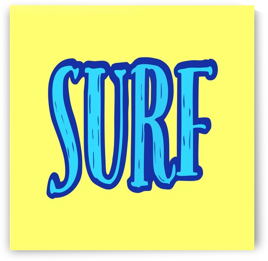 Blue and Yellow Surf Typography  by Leah McPhail