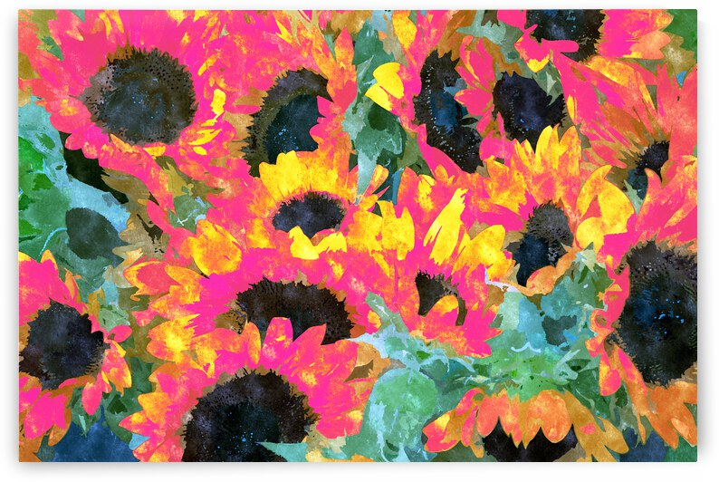Pink Sunflowers Pop of Color Bold Floral Nature Botanical Summer Painting Plants Eclectic Garden by 83 Oranges